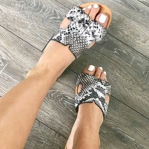 Black and white snake print sandals